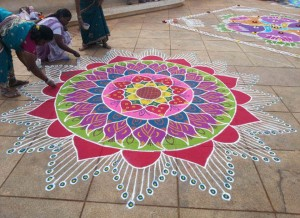 Handmade designs made with rice flour during Pongal