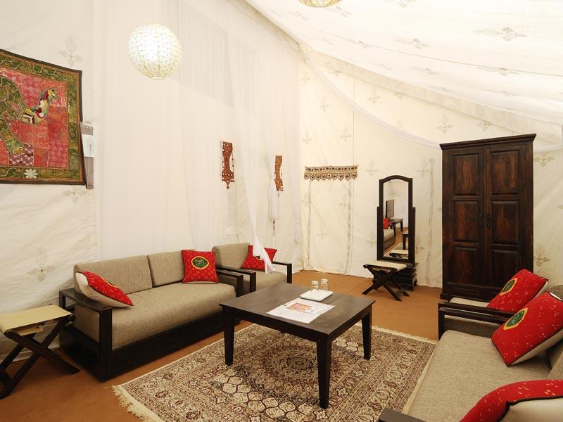 Interiors of a luxury tent at the Rann Utsav Festival
