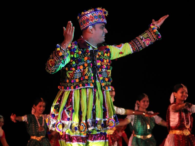 Native man in traditional outfit during festivities at Rann Utsav festival